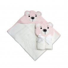 BW-120-118P: Baby 3D Bear Hooded Towel/Robe- White/Pink