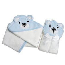 BW-120-118S: Baby 3D Bear Hooded Towel/Robe-White/Sky