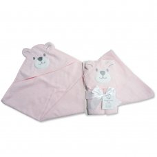 BW-120-121P: Baby 3D Bear Hooded Towel/Robe- Pink