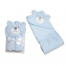 BW-120-121S: Baby 3D Bear Hooded Towel/Robe- SKy