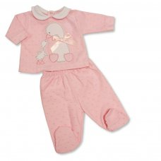 BW-13-376P: Baby Girls 2 Piece Set with Bow - Duck (NB-6 Months)