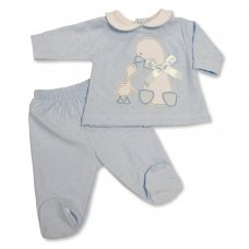BW-13-376S: Baby Boys 2 Piece Set with Bow - Duck (NB-6 Months)