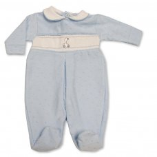 BW-13-377S: Baby Boys All in One with Smocking (NB-6 Months)
