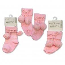 BW-61-2162: Baby Pom Pom Socks- Pink (0-18 Months)