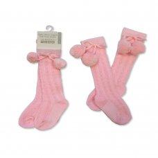 BW-61-2163: Baby Knee Length Pom Pom Socks - Pink (0-12 Months)