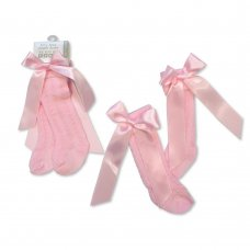 BW-61-2164P: Baby Knee Length Socks with Bow - Pink (0-18 Months)