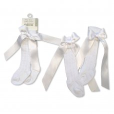 BW-61-2164W: Baby Knee Length Socks with Bow - White (0-18 Months)