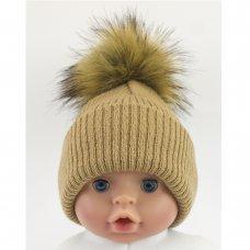 BW-0503-0605C-ES/SM: Baby Camel Pom-Pom Hat (0-6 Months)