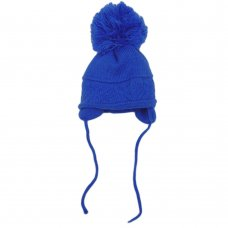 CL4202-RO-2: Baby Cross Knit Big Pom Hat- Royal (6-18 Months)