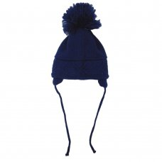 CL4202-N: Baby Cross Knit Big Pom Hat- Navy (6-18 Months)