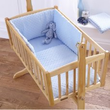 Dimple Velour Cot Quilt & Bumper Set: Sky