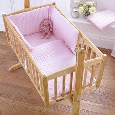 Dimple Velour Cot Quilt & Bumper Set: Pink