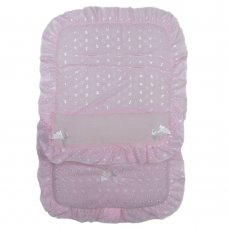 Dolls Broderie Anglaise Footmuff/Cosytoe- Pink