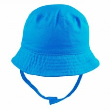 0192-Electric Blue: Baby Boys Plain Bucket Hat With Chin Strap (0-12 Months)