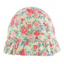 0312: Girls Cream Floral Cloche Hat