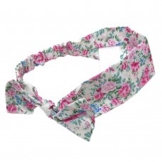 0314: Girls Cream Floral Elasticated Headband (One Size)