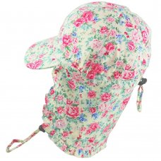 0304: Girls Cream Floral Legionnaire Cap
