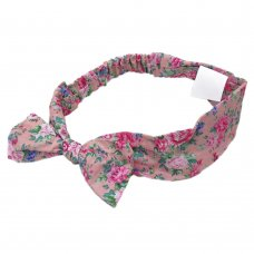 0313: Girls Pink Floral Elasticated Headband (One Size)