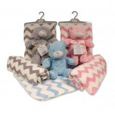 GP-25-0972: Plush Teddy Toy with Zig-Zag Blanket on Hanger