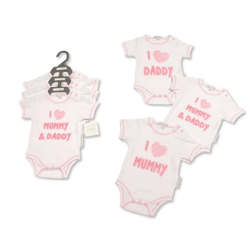GP-25-0981: Baby Girls I Love Mummy & Daddy 3 Pack Bodysuits (NB-6 Months)