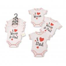 GP-25-0982: Baby I Love Mum & Dad 3 Pack Bodysuits (NB-6 Months)
