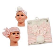 GP-25-1018: Baby Headbands - Packs of Two - Bow/ Pom Pom (0-6 Months +)