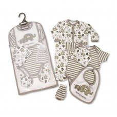 GP-25-1027: Baby Unisex 5 Piece Gift Set - Elephants (NB-6 Months)