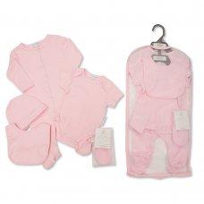 GP-25-1047: Baby Plain Pink 5 Piece Net Bag Gift Set