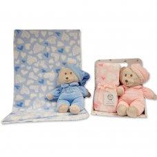 GP-25-1050: Pyjama Teddy Toy with Coral Fleece Heart Blanket
