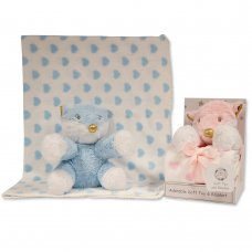 GP-25-1051: Fox Toy with Coral Fleece Heart Blanket