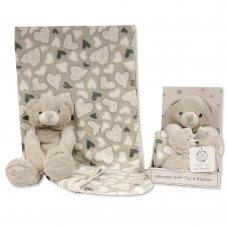 GP-25-1052: Teddy Bear with Coral Fleece Heart Blanket