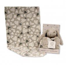 GP-25-1053: Rabbit Toy with Coral Fleece Heart Blanket