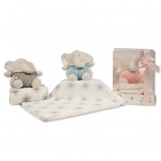 GP-25-1054: Baby Elephant Toy with Coral Fleece Star Blanket