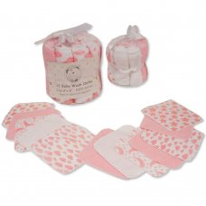 GP-25-1056P: Baby Pink 12 Pack Wash Cloths In a Mesh Pack