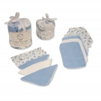 GP-25-1056S: Baby Blue 12 Pack Wash Cloths In a Mesh Pack