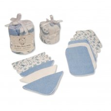 GP-25-1055S: Baby Blue 12 Pack Wash Cloths In a Mesh Pack