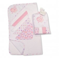GP-25-1058P: Baby Hooded Towel & 4 Wash Cloths Set- Pink