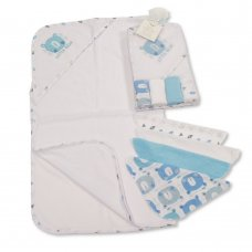 GP-25-1058S: Baby Hooded Towel & 4 Wash Cloths Set- Sky