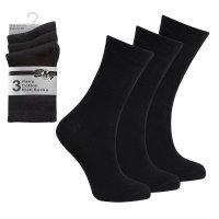 3 Pack Children's Cotton Rich Plain School Socks-Black