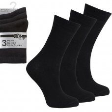 3 Pack Children's Cotton Rich Plain School Socks- Black