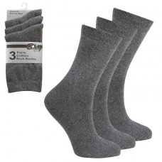 3 Pack Children's Cotton Rich Plain School Socks- Grey