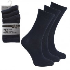 3 Pack Children's Cotton Rich Plain School Socks- Navy