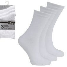 3 Pack Children's Cotton Rich Plain School Socks- White