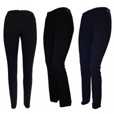 Girls/ Ladies Stretch Trousers With Concealed Zip - Navy