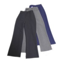 Girls Half Elastic Front Button and Zip School Trousers - Grey Size 13 Years