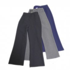 Girls Half Elastic Front Button and Zip School Trousers - Navy