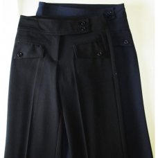 Double belt, zip front, Flap Pocket School Trouser - Black