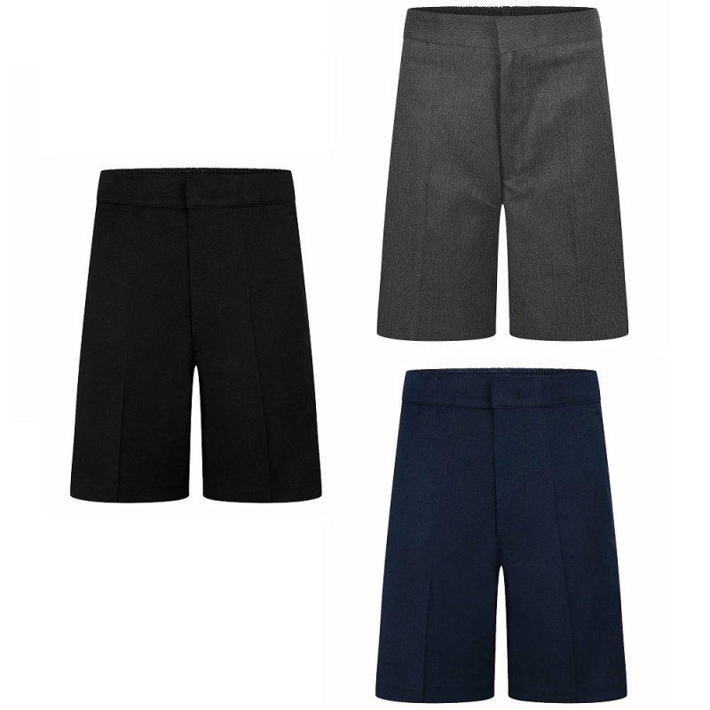 Boys School Zip & Clip Teflon Shorts - Black