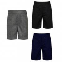 Boys School Pull Up Teflon Shorts - Black