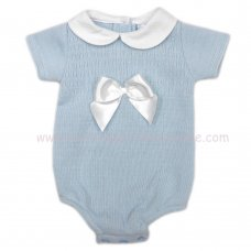 MC400B: Baby Sky Knitted Romper With Bow (0-9 Months)
